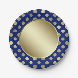 Royal Blue Gold Polka Dot Birthday Party Paper Plate