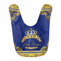 Royal Blue Gold Prince Baby Bib