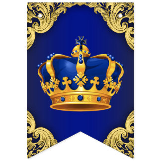 Royal Blue Gold Prince Baby Shower Bunting Flags