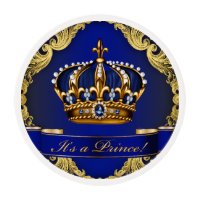 Royal Blue Gold Prince Baby Shower Cupcake Edible Frosting Rounds