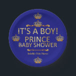 "Royal Blue Gold Prince Baby Shower Its A Boy Paper Plate<br><div class=""desc"">Royal Blue Gold Prince Shower. It&#39;s A Boy. Party Royal Blue Little Prince Crown Baby Shower. Elegant gold damask jewel crown. It&#39;s a Prince For Dinner,  Snacks,  Cakes,  food</div>"
