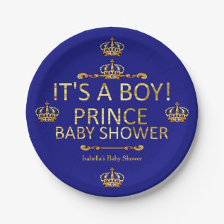 Royal Blue Gold Prince Baby Shower Its A Boy Paper Plate at Zazzle