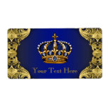 Royal Blue Gold Prince Baby Shower Water Bottle Label