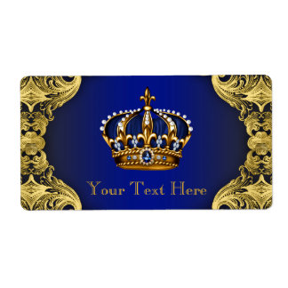 Royal Blue Gold Prince Baby Shower Water Bottle Shipping Label