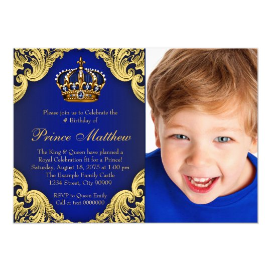Royal Blue Gold Prince Birthday Party Invitations – Prince 1st Birthday Invitations