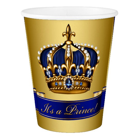 Royal Blue Gold Prince Boy Baby Shower Paper Cup Zazzle Com