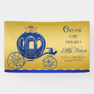 Royal Blue Gold Prince Carriage Baby Shower Banner