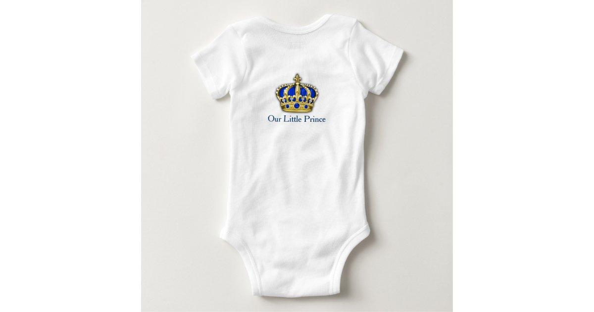 Royal Blue Gold Prince Crown Prince Baby Boy Baby Onesie