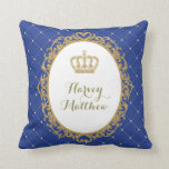 "Royal Blue Gold Prince Nursery Decor Pillow<br><div class=""desc"">Adorable prince theme cushion in royal blue and gold