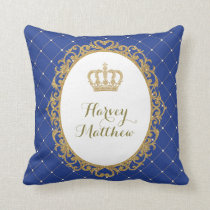 Royal Blue Gold Prince Nursery Decor Pillow