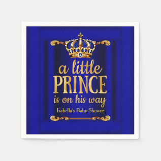 Royal Blue Gold Prince On His Way Baby Shower Napkin at Zazzle