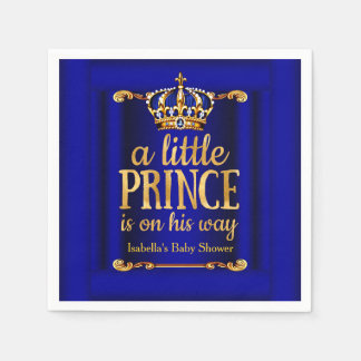 Royal Blue Gold Prince On His Way Baby Shower Napkin
