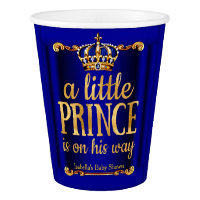 Royal Blue Gold Prince On His Way Baby Shower Paper Cup