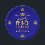 "Royal Blue Gold Prince On His Way Baby Shower Paper Plate<br><div class=""desc"">Royal Blue Gold Prince On His Way Baby Shower. Party Royal Blue Little Prince Crown Baby Shower. Elegant gold damask jewel crown. It&#39;s a Prince For Dinner,  Snacks,  Cakes,  food</div>"