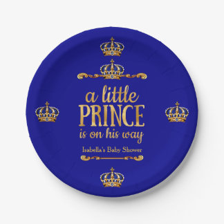 Royal Blue Gold Prince On His Way Baby Shower Paper Plate