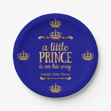 Toddler & Baby themed Royal Blue Gold Prince On His Way Baby Shower Paper Plate