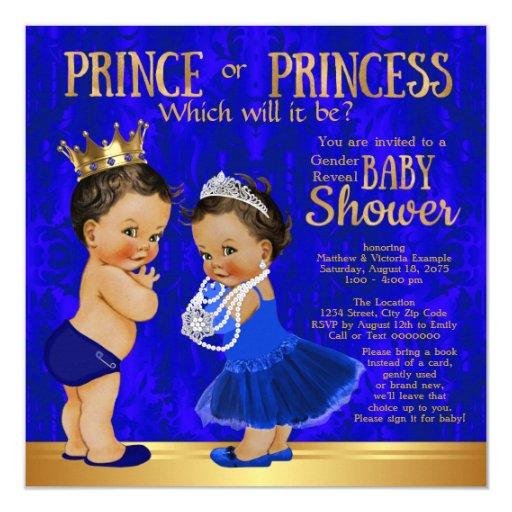 Royal Blue Gold Prince Princess Gender Reveal Card | Zazzle