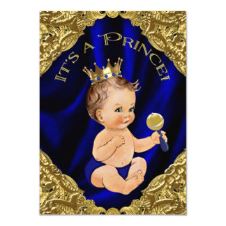 Royal Blue Gold Satin Prince Baby Shower Card