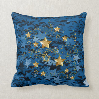 Royal Blue & Gold Stars Square Throw Pillow