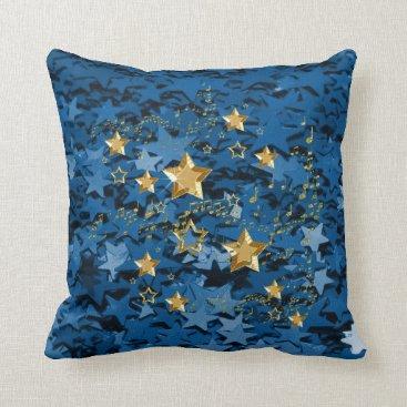 moondreamsmusic Royal Blue & Gold Stars Square Throw Pillow