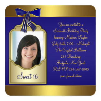 Royal Blue Gold Sweet 16 Birthday Party 5.25x5.25 Square Paper Invitation Card
