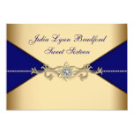Royal Blue Gold Sweet Sixteen 5x7 Paper Invitation Card