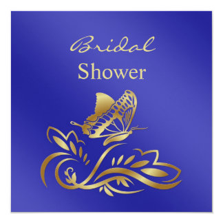 Royal blue & gold swirls, butterfly Bridal Shower Card