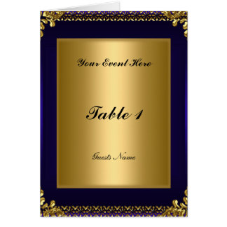 Royal Blue Gold Table Placement Card Menu Greeting Card