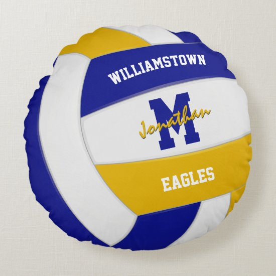 royal blue gold team colors kids volleyball round pillow