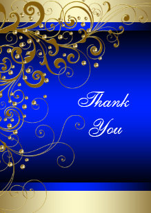 Royal Blue Gold Thank You Cards Zazzle