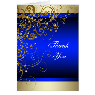 Royal Blue Gold Thank You Cards