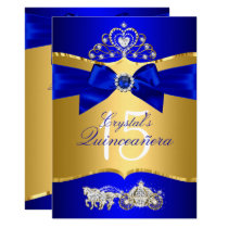 Royal Blue Gold Tiara Pearl Bow Quinceanera Card