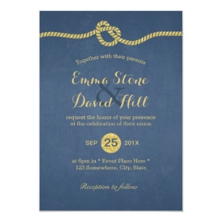 Royal Blue & Gold Tying the Knot Wedding 5x7 Paper Invitation Card