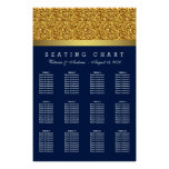 Royal Blue Gold Wedding Seating Chart Poster