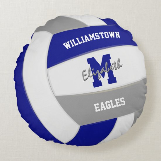 royal blue gray team colors girls volleyball round pillow
