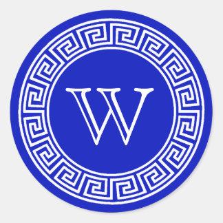 Royal Blue Greek Key Monogram Envelope Seals Classic Round Sticker