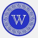 Royal Blue Greek Key Monogram Envelope Seals Stickers