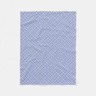 Royal Blue Greek Key Pattern Fleece Blanket