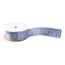 Royal Blue Greek Key Pattern Satin Ribbon