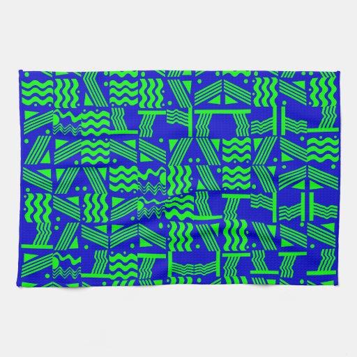 Royal Blue Kitchen: Royal Blue & Green Geometric Kitchen Towels