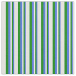[ Thumbnail: Royal Blue, Green & Light Cyan Lines Fabric ]