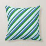 [ Thumbnail: Royal Blue, Green & Light Cyan Lines Throw Pillow ]