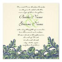 Royal Blue & Green Paisley Peacock Wedding Invite