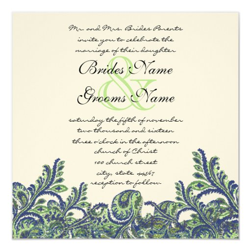 "Royal Blue & Green Paisley Peacock Wedding Invite 5.25"" Square Invitation Card"