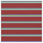 [ Thumbnail: Royal Blue, Green, Sky Blue, and Maroon Lines Fabric ]