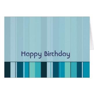Royal Blue Green Stripes Geometric Happy Birthday Card