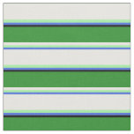 [ Thumbnail: Royal Blue, Green, White, Forest Green, and Black Fabric ]