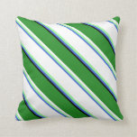 [ Thumbnail: Royal Blue, Green, White, Forest Green, and Black Throw Pillow ]
