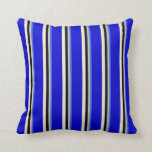 [ Thumbnail: Royal Blue, Grey, Black, Beige & Blue Colored Throw Pillow ]