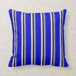 [ Thumbnail: Royal Blue, Grey, Black, Beige & Blue Colored Throw Pillow ]
